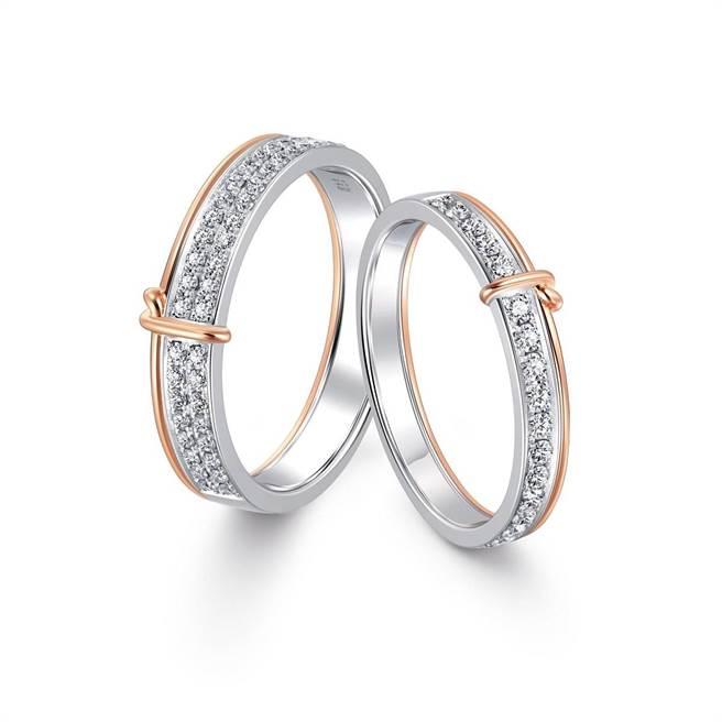 PROMESSA「同心结」白金玫瑰金双色钻石对戒,男戒4万1500元,女戒3万3600元。(点睛品提供)