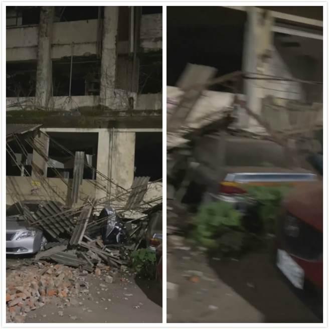 6.7地震全台有感,停放在新竹舊國賓影城廢墟的車輛全遭殃。(圖/新竹大小事)