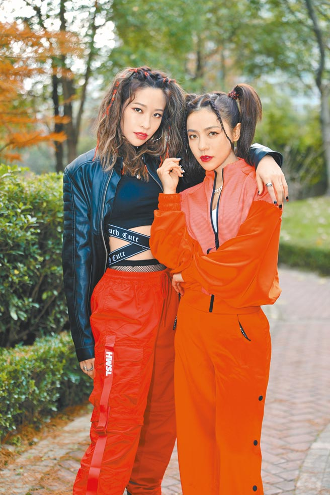 丁噹(右)和袁咏琳昨合体接受媒体视讯访问。(相信音乐提供)