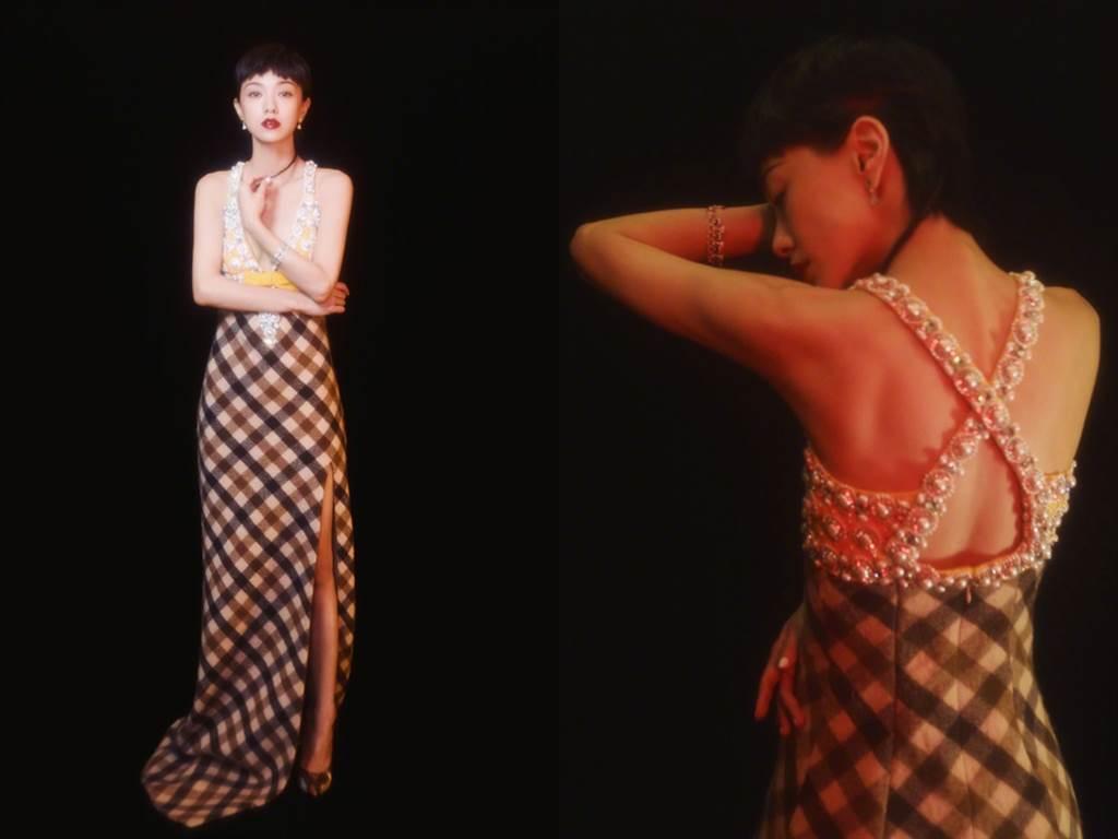 郭采潔的紅毯造型深受好評。(圖/微博@郭采潔)