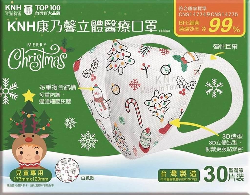 全聯「康乃馨3D立體兒童醫療口罩-耶誕節(白),30片、359元,福利卡友加贈50福利點。(全聯提供)