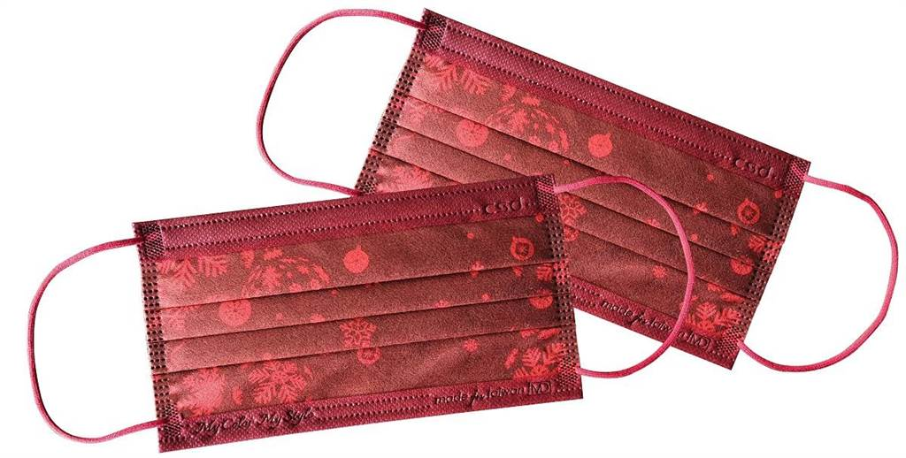 家樂福「中衛醫療口罩-緋紅雪花」,30片、300元。(家樂福提供)