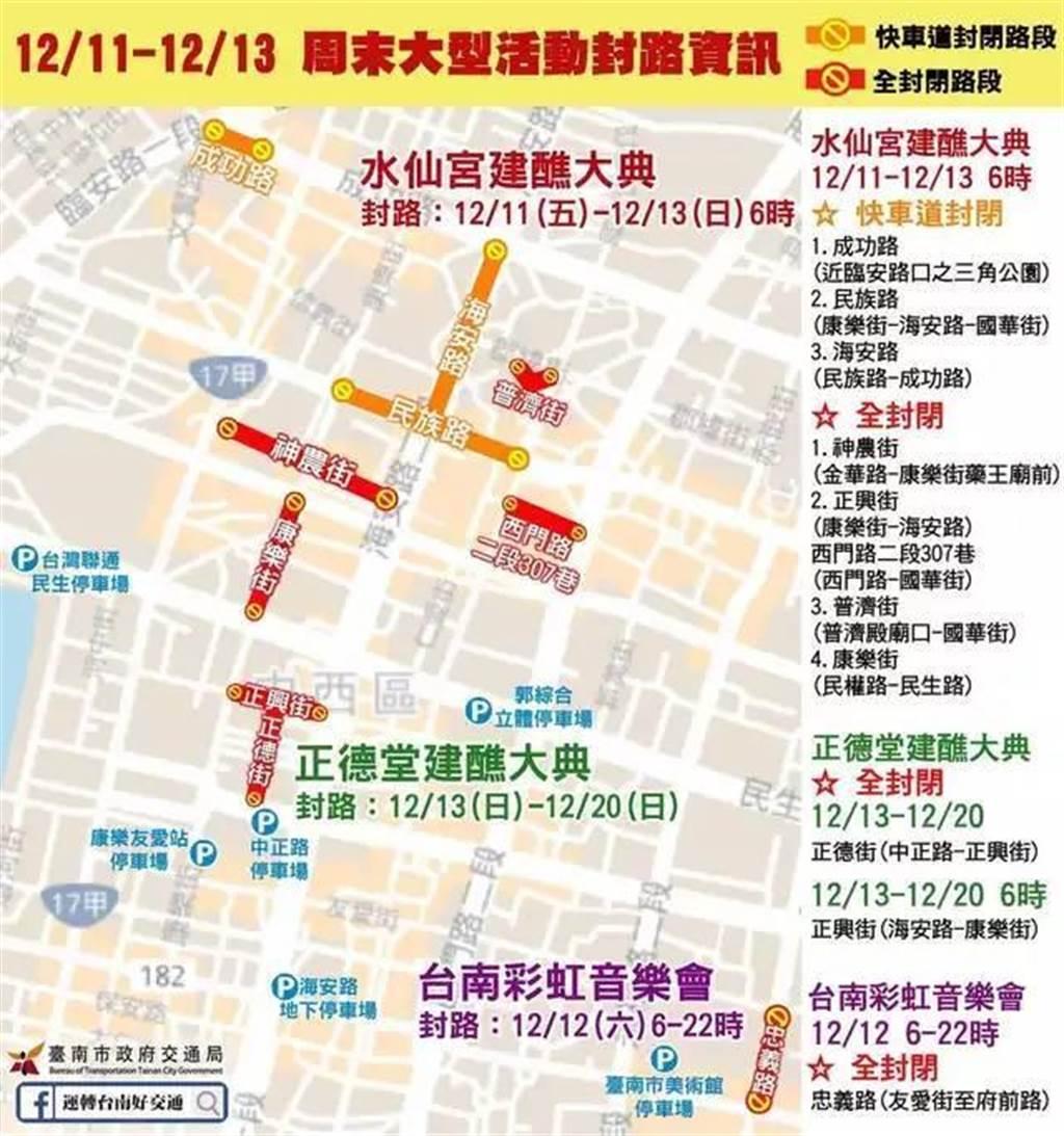 台南市交通局在臉書上公布封路的時間與路段,多達10處,引起民眾抱怨擾民。(擷自「運轉台南好交通」臉書粉絲頁/程炳璋台南傳真)