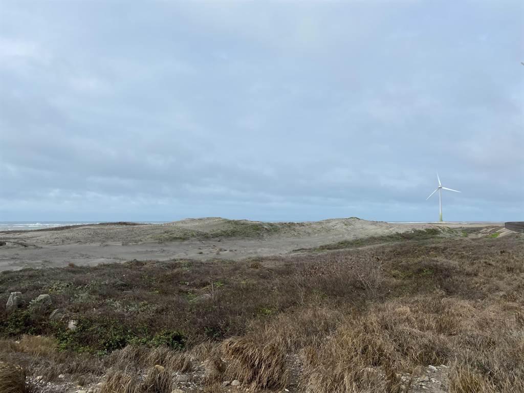 大安五甲渔港周遭因东北季风侵袭致风沙大,居民苦不堪言。(陈淑娥摄)