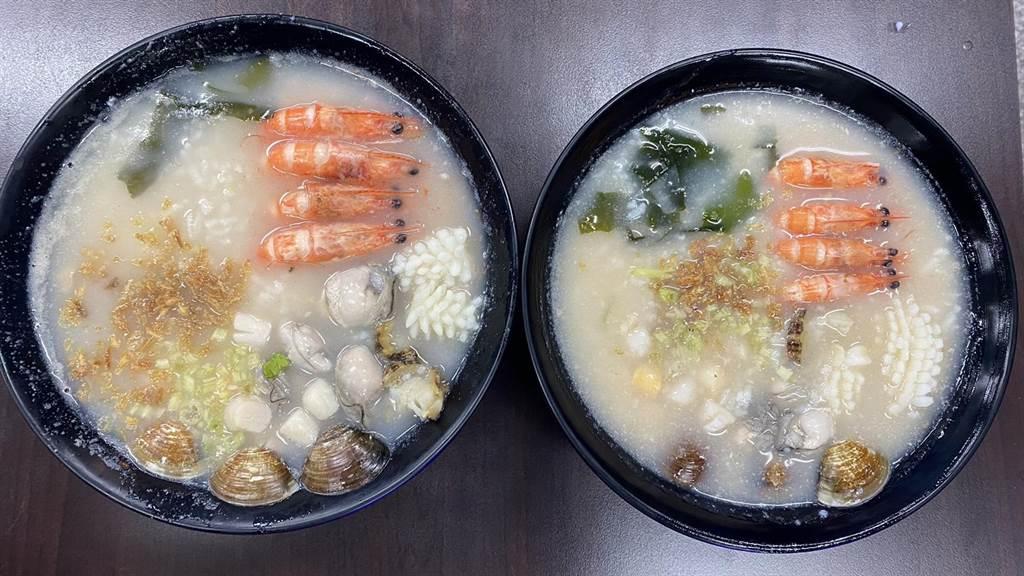 「粥狂」海鮮粥以平價聞名,100元可以吃到蛤蠣、鮮蚵、花枝、小干貝及白蝦等海味。(王文吉攝)