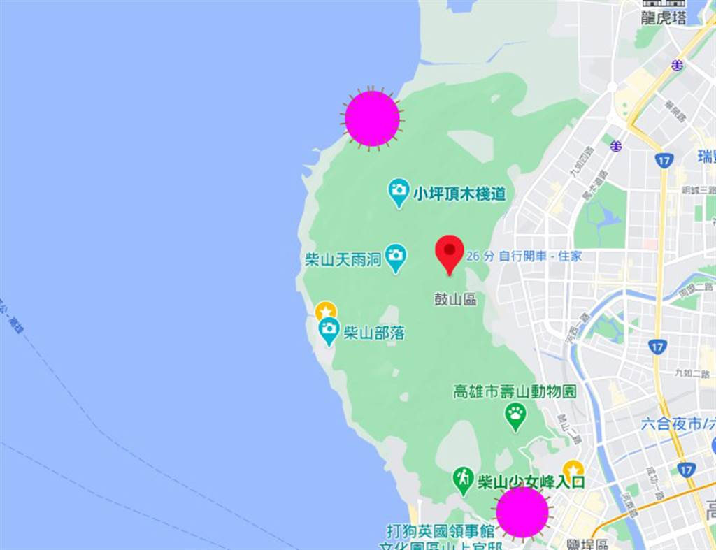 柴山東北角、東南角(紫色標記)各有一處軍方靶場,距離陳男受傷處至少1至2公里。(袁庭堯製圖)