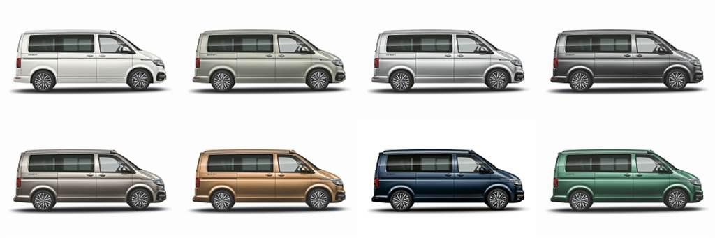 提供香草白、米白灰、璀璨銀、鏡色灰(上排左至右),漠地棕、古銅金、星空藍、月桂綠(下排左至右)等八種車色選擇。