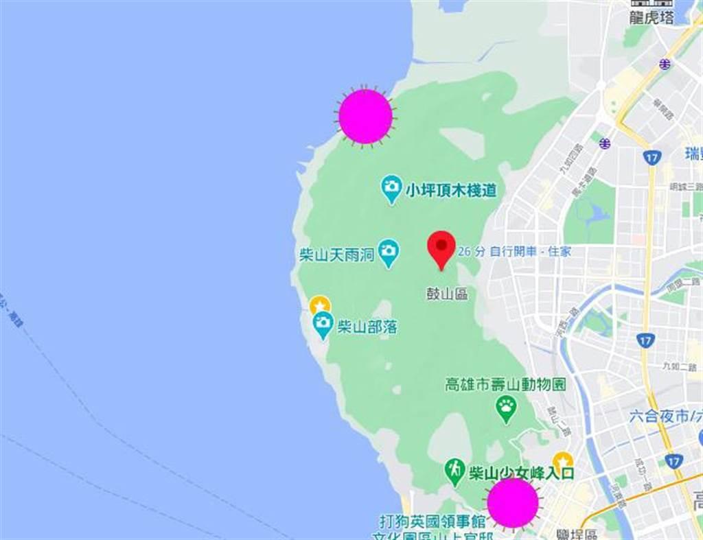 柴山东北角、东南角(紫色标记)各有一处军方靶场,距离陈男受伤处至少1至2公里。(袁庭尧制图)