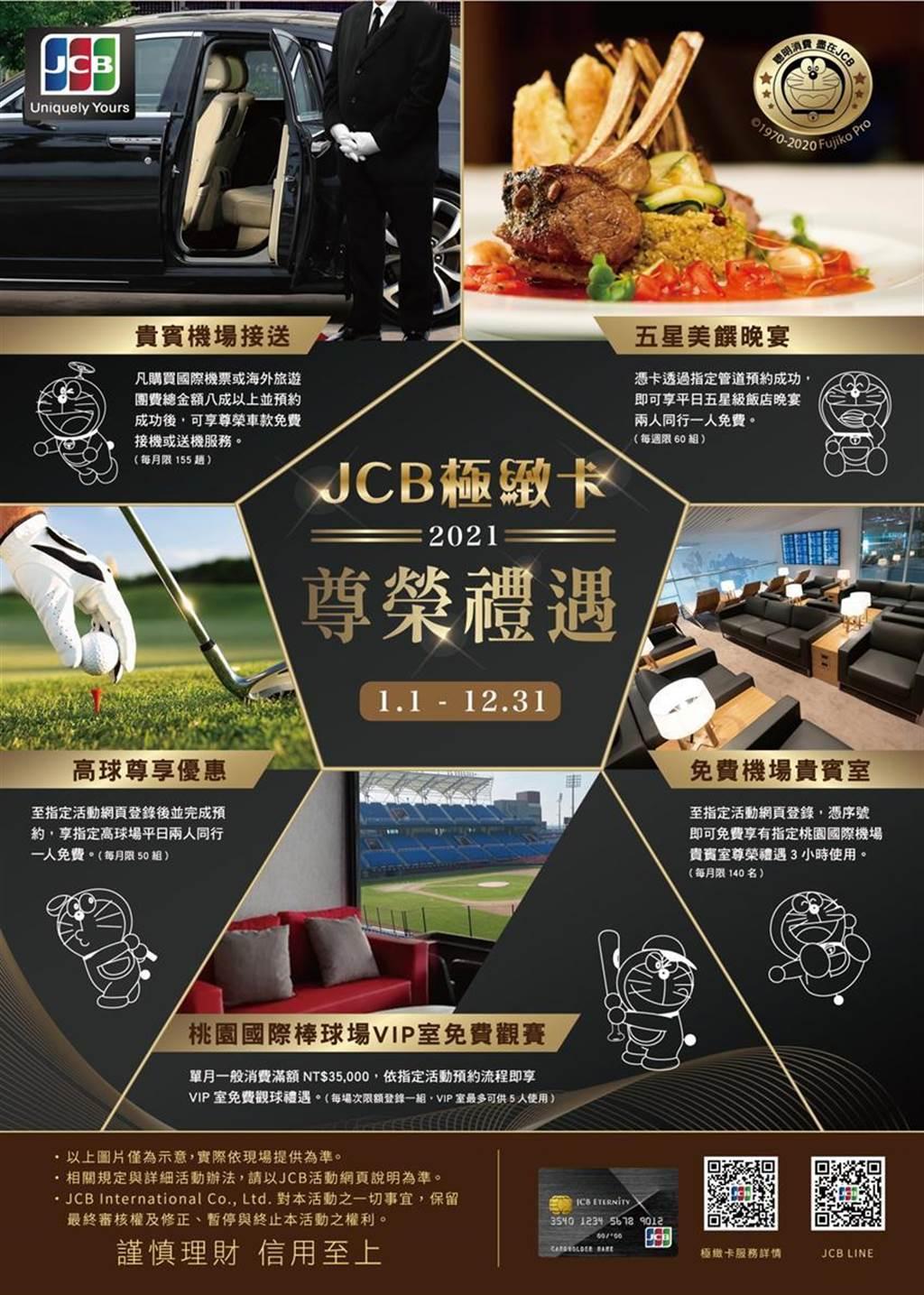 JCB极致卡推出2021年尊荣礼遇。图/JCB提供