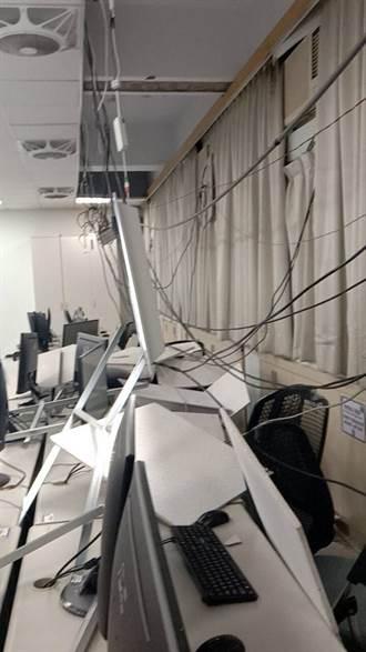 強震暴襲!大學教室「天花板垮、電線斷」 學生嚇歪