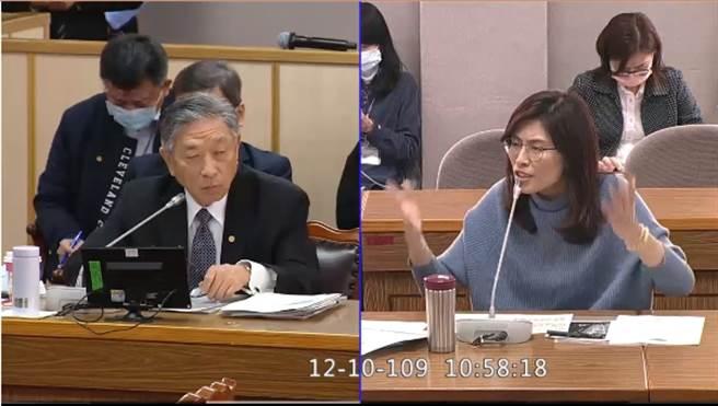 国民党立委郑丽文(右)、外交部次长田中光(左)。(图/翻摄自立法院官方网站)
