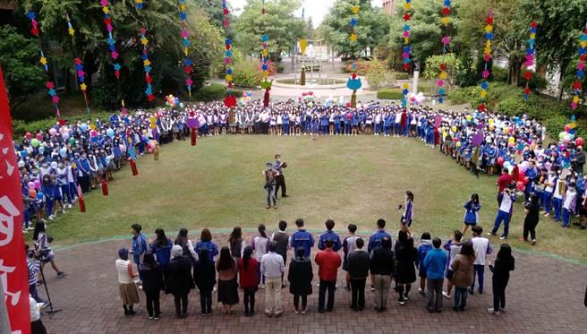 彰化溪湖高中今年有539位應屆畢業生,11日齊聚川堂舉行考前誓師活動。(校方提供/吳建輝彰化傳真)