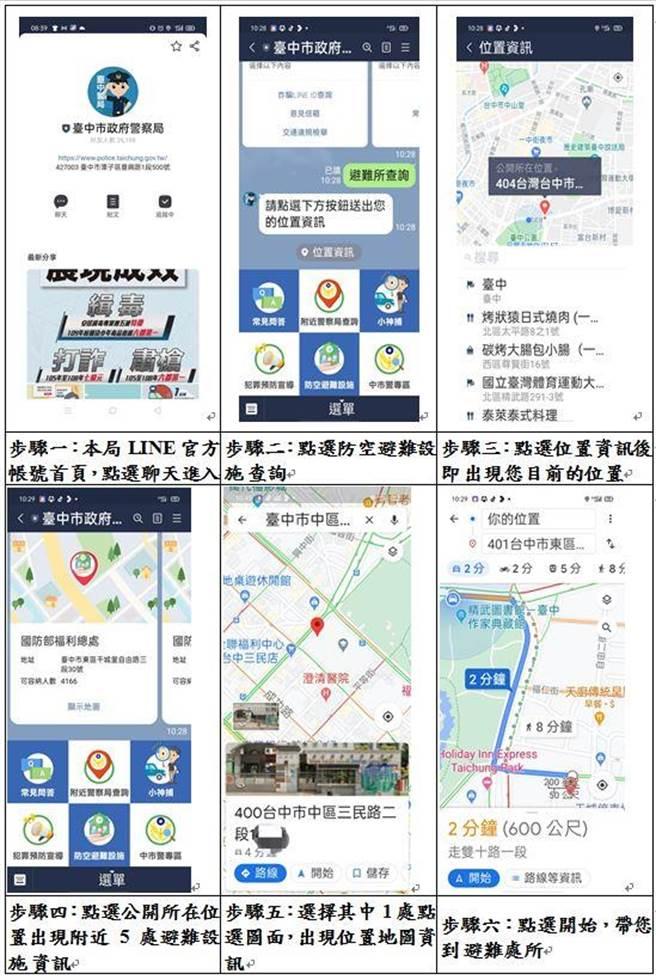 台中市警察局超前部署,各分局网站传递「社区防空避难点」资讯,透过LINE可查询最近避难地点。(台中市警第五分局提供/张妍溱台中传真)