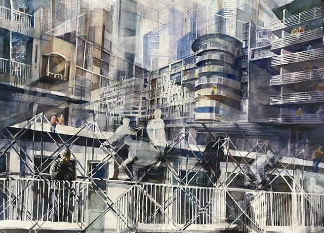 鍾侑穎的特優作品「Through」(穿越)把鷹架、工人、完工的建築、住戶融合於一圖,凸顯被眾人忽略的「努力過程」。(東南國中提供)