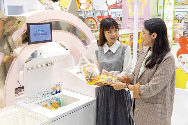 「X-STORE 4」首度使用新式智能標籤(RFID),消費者只要將商品放在自助結帳區,就能快速完成結帳。圖/業者提供