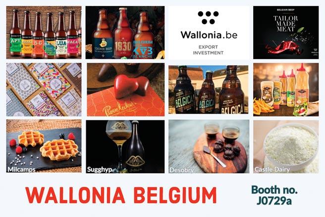 比利时瓦隆尼亚馆展出许多精选品牌食品。图/比利时瓦隆尼亚外贸投资总署提供