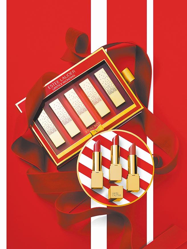 ESTEE LAUDER夢幻市集5色脣彩耶誕限量套組,價值3250元,特價2800元,限量3組。(大葉高島屋提供)
