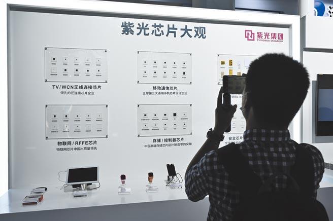 紫光集團展位的各類晶片吸引參觀者拍照。(中新社資料照片)