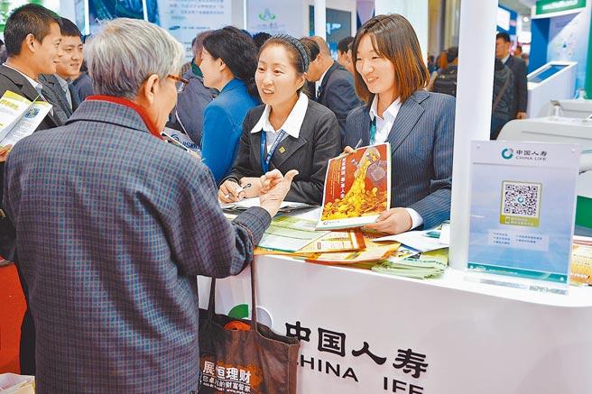 北京國際金融博覽會,一名參觀者在展區向工作人員諮詢保險業務。(新華社資料照片)