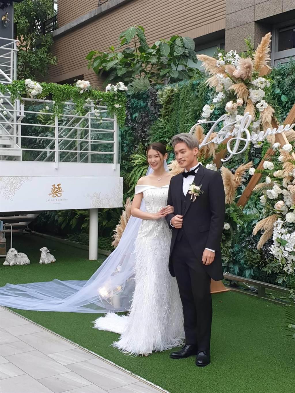 許孟哲與趙孟姿在內湖某加咖啡廳舉辦婚宴。(孫伊萱攝)