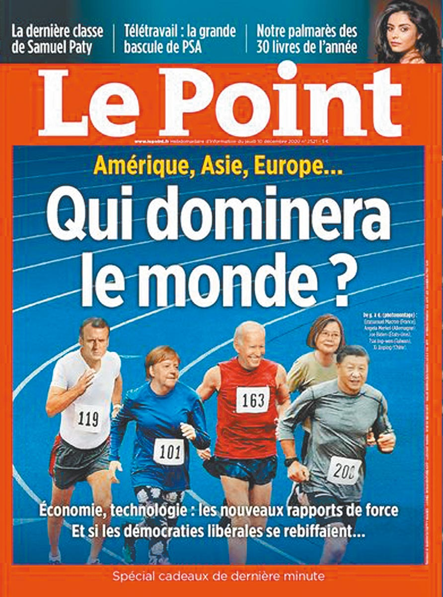 蔡英文總統入選法國《觀點》周刊(Le Point)的最新一期,以「誰將主宰世界?」為標題,封面上的5國領導人中,蔡英文總統與美國、德國、法國、中國等5國領導人一起賽跑步。(摘自法國《觀點》周刊)