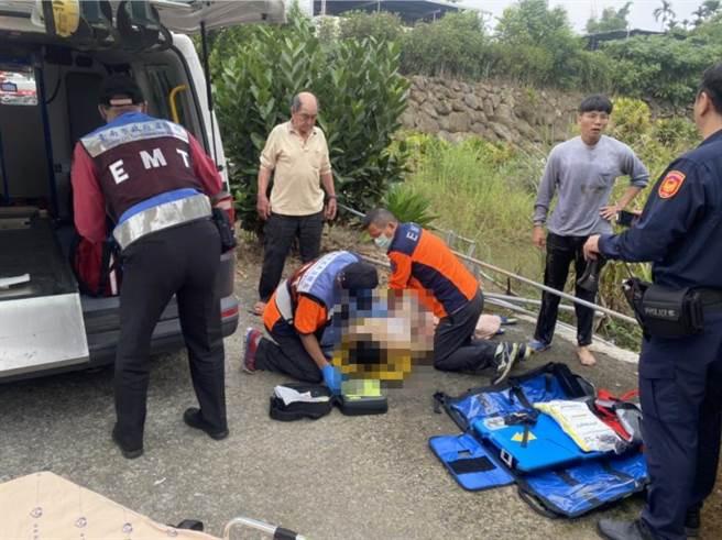 台南市白河區關嶺里12日中午發生溺水事故,39歲吳姓男子溺斃於住家後方約80公分小水塘。(讀者提供/劉秀芬台南傳真)