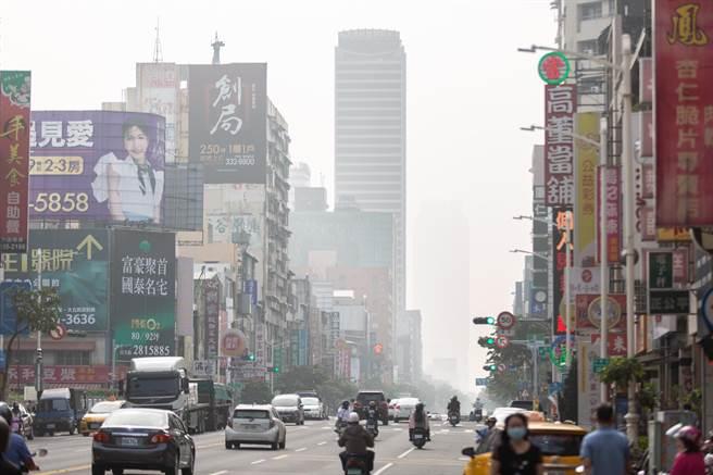 高雄市12日一早受境外汙染影響,AQI指數亮橘燈,市區天空一片灰濛。(袁庭堯攝)