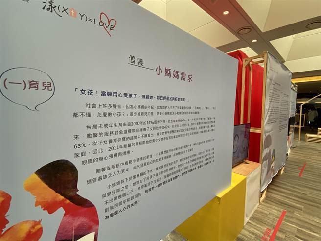 為了讓社會大眾看見小爸媽生活真實樣態,多一點理解與溫柔眼光,勵馨基金會台南分事務所特別企畫「2020裂縫微光 漾(X+Y)=LOVE」公益藝文展。(曹婷婷攝)