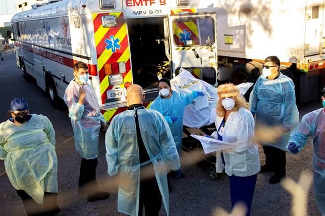 美國疫情快速惡化。圖為德州艾爾帕索近郊新冠死者被抬進冷藏車的畫面。(路透)
