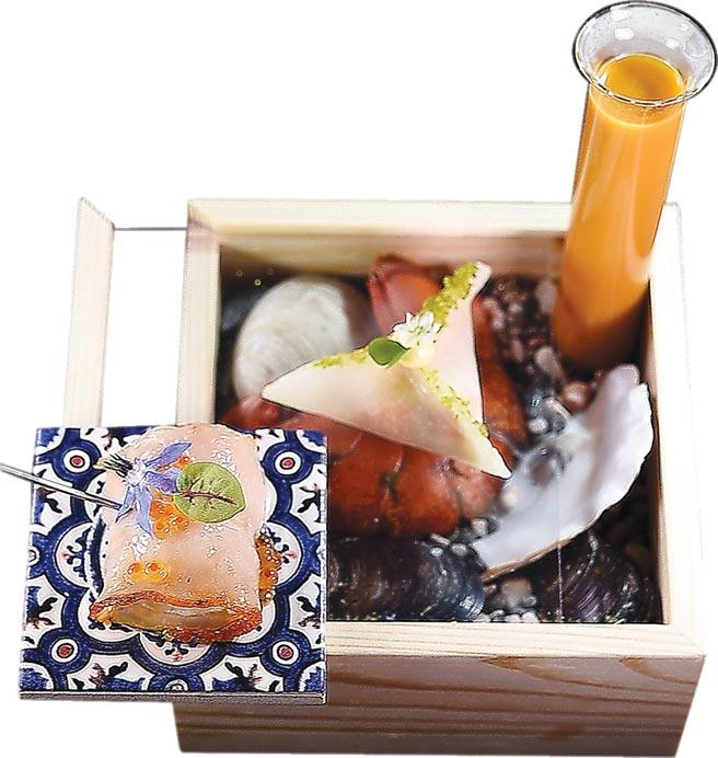本季新菜〈龍蝦三吃〉,以特別訂製的木盒呈現,搶眼吸睛。圖/姚舜