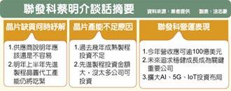 蔡明介:明年H1晶圓產能吃緊