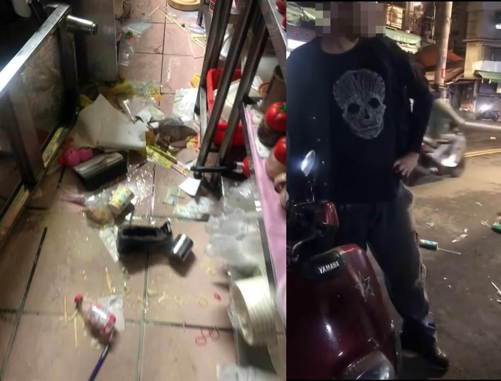 台中市11日晚間一位彪悍的男子似因酒後心情不好,無故跑到一間早午餐店猛砸,老闆的小女兒甚至無端遭甩巴掌。(合成圖/臉書社團《爆料公社》/蘇育宣翻攝)