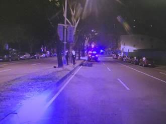 中市凌晨機車自撞分隔島 夫死妻骨折