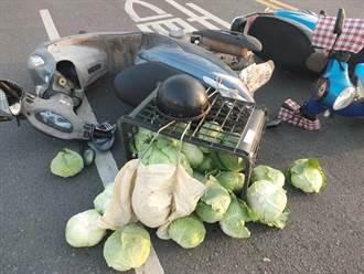 金門2機車擦撞 高麗菜掉落一地