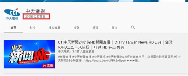 中天電視YT正式突破200萬訂閱。(圖片摘自中天電視YT)