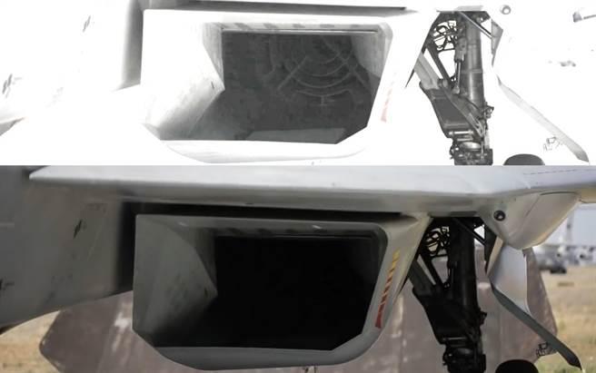 據說一名網友,把最近的Su-57進氣口照片加強光度對比,赫然發現加裝了遮蔽雷達波的網柵,應該可以增進Su-57的匿蹤效果。(圖/twitter)