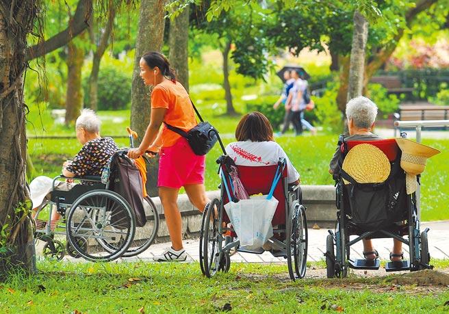 外公因為開刀,親戚決定替他請一位全天候的看護。圖為外籍家庭看護工推著坐輪椅的老人家到公園散步。(本報資料照片)