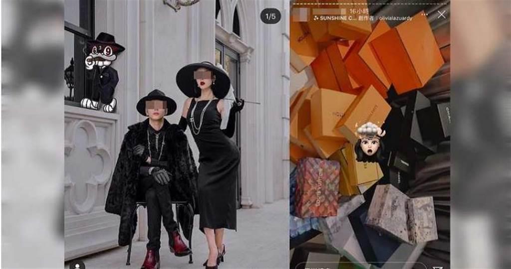 鍾男夫婦10月底合拍一組時尚照片,兩人大方認愛,平常也常在IG上高調炫富,表示擁有一大堆愛馬仕精品。(圖/翻攝鍾男IG)