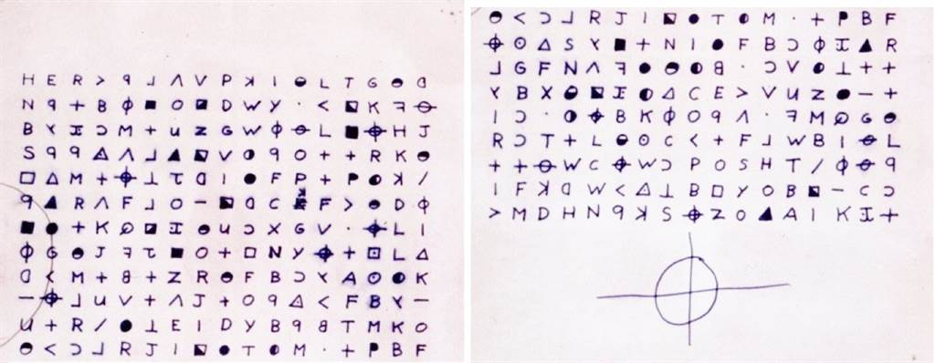 「黃道帶殺手」的密碼信,最末尾的圓圈與十字結合的符號,是他用來自稱的符號。(圖/維基)