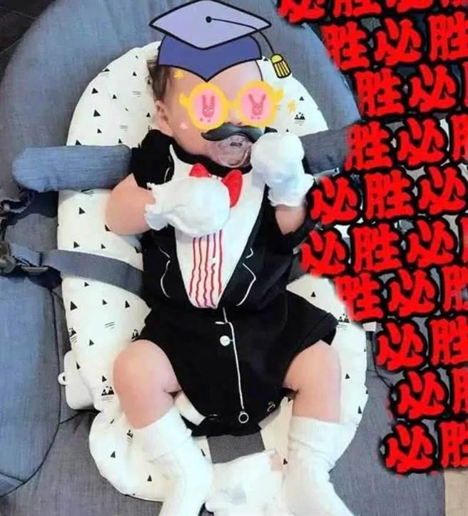 劉詩詩的1歲愛子步步。(圖/微博@劉詩詩)