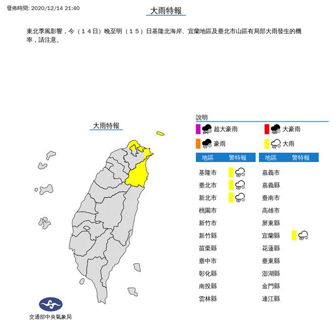 東北季風影響,今(14日)晚至明(15)日基隆北海岸、宜蘭地區及臺北市山區有局部大雨發生的機率,請注意。(氣象局)