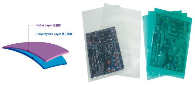 新禾彩藝電子級真空袋,適於印刷電路板包裝、及可抽真空透明包裝袋。圖/新禾彩藝公司提供