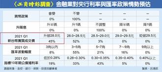工商時報調查》四成五金融業者推估… 台幣明年首季見27字頭