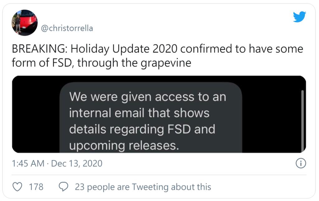 特斯拉重寫版 FSD btea 版本公測可能會在聖誕假期啟動,和重大軟體更新一同登場?