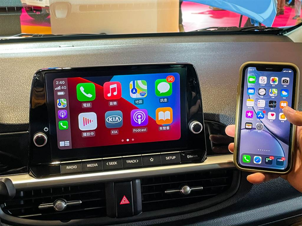 Picanto都會版以上車型皆標配可無線連接Apple CarPlay/Android Auto的8吋多功能主機。