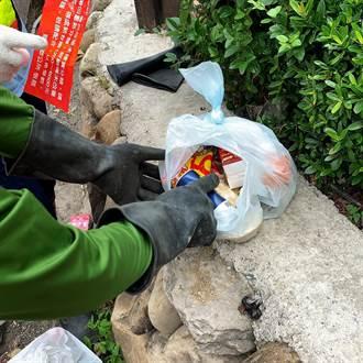 竹南垃圾分类不确实 狮潭贴红单警告奏效