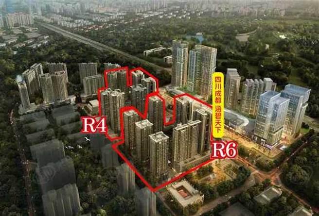 鄉林集團在四川成都的300億大案「涵碧天下」,基地總面積約5.8萬坪,第一期建設項目包含R4、R6住宅部分,其中R6部分棟別,即為這次被法拍的物件。