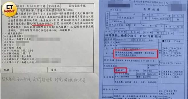 軍方給予家屬的報告指出蘇威宇當時「半跪在地、有意識、無發燒」,但急診病例卻寫著有40.8度的高燒且到院前已失去呼吸心跳,直接打臉軍方。(圖/讀者提供)