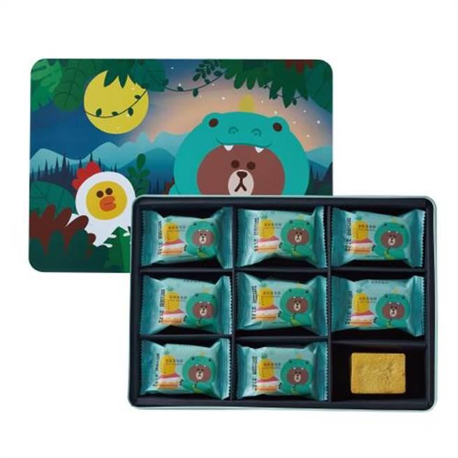 新光三越獨家、初登場,吳寶春x LINE FRIENDS蛋糕鳳梨酥禮盒,美麗台直購,860元。(新光三越提供)