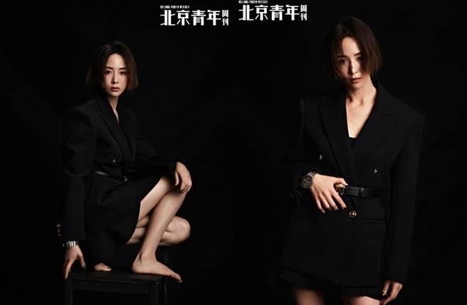 張鈞甯近日登上《北京青年周刊》12月封面,並拍攝一組黑色系視覺大片。(圖/摘自微博@北京青年周刊)